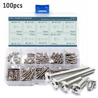 100pcs #6-32 Cross Pan Head Machine Screws Assortment Kit Stainless Steel