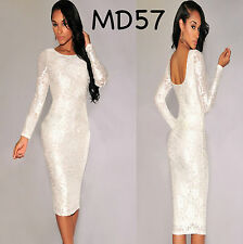 Sz 8 10 White Roses Long Sleeve Bodycon Prom Cocktail Party Slim Fit Midi Dress