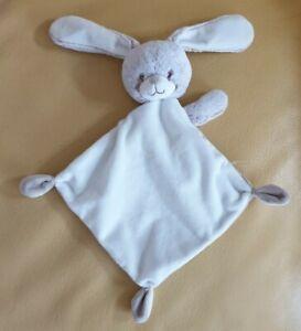 TBE - Doudou plat lapin beige marron clair chiné blanc tex Carrefour