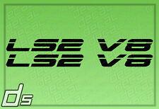 2x LS2 V8 Liter Engine Badge Decals Cowl Hood Letter Fender Door Sticker Crate