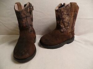 GAME WINNER LEATHER FOOT WESTERN COWBOY BOOTS INFANT GIRLS J7.0 BROWN CAMOUFLAGE