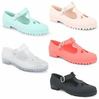 Womens Ladies Flat Cut Out Mary Jane T-Bar Geek Pumps Jelly Jellies Shoes Size