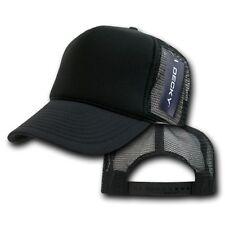 Solid Black Classic Mesh Blank Foam Snapback Trucker Vintage Baseball Hat Cap
