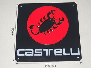 Castelli, Black Square Acrylic, Red Logo, 190 X 190mm Cycling Sign.
