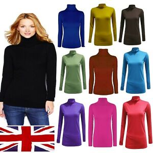 Womens turtle neck POLO neck long sleeve stretch t shirt top jumper - polo neck