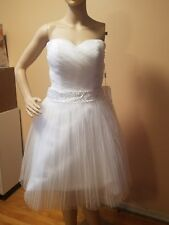Adoring Dress wedding dress strapless above knee size 4 NWTs pleared crinolin be
