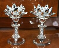 2X CRYSTAL CUT LOTUS FLOWER CANDLE HOLDER STAINLESS JOINT ORNAMENT CHRISTMAS