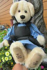 "Vintage Teddy Bear Blonde Mohair Amish W Doll 18"" Ooak Artist Tag Gloria Adams"