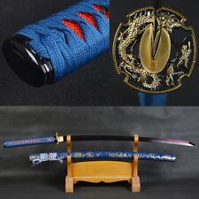 41 Inch Red Blade Samurai Sword Japanese Katana Sharp Folded Steel Dragon Tsube