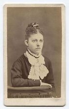 ANTIQUE CDV WOMAN WITH CURLY UP-DO HAIR. SACO, MAINE.