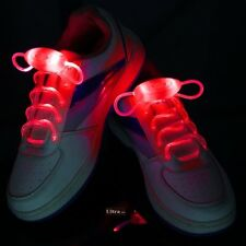 Red Coloured LED Bright light up waterproof shoelaces for trainers shoes