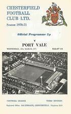 Football Programme - Chesterfield v Port Vale - Div 3 - 1971