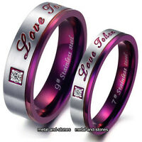 UNIQUE PURPLE LOVE RINGS SET VALENTINES XMAS GIFT FOR HER HIM WIFE WOMEN COUPLES