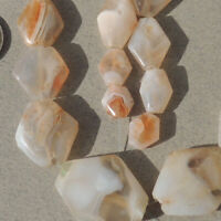 20 diamond shaped tabular ancient agate african stone beads mali #3953