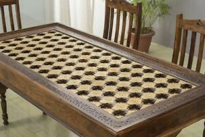 MADE TO ORDER Mogra Antique Brass Work Solid Wood Brass Dining Table A 150x80x75