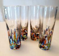 Baja Confetti Tall shot blown glass set of 4 shooters Tequila 2oz home studio