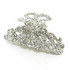 NEW White Flowers Austrian Crystal Metal hair claws clips pins 8000