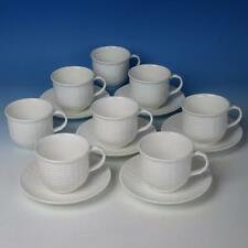 Wedgwood China - Nantucket - White, Embossed Basketweave - 8 Cups & 6 Saucers