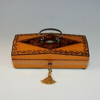 Antique Palais Royal Satin Wood Keepsake Box with Mulberry Inlay and Key