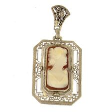 14k Gold Carved Carnelian Shell Lady Cameo 1940s Antique Art Deco Pendant