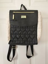 Betsey Johnson Black & White Quilted Heart Backpack EUC