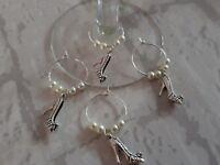 Set of 4 high heel wine glass charms ideal for wedding, hen doo's, birthdays