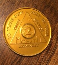 Vintage Alcoholic Anonymous 2 Month Recovery  Coin Chip Medallion Medal Token AA