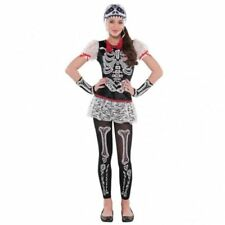 SKELETRIA FANCY DRESS COSTUME GIRLS HALLOWEEN SKELETON DAY OF THE DEAD