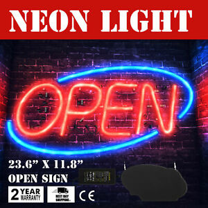 30w 24x12 inch Neon OPEN Sign LED Bright Light Bright Power Adapter Window