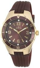 Invicta Women's 'Angel' Quartz Stainless Steel Case Brown Polyurethane Watch 174