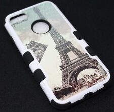 For iPhone 7 /8 Eiffel Tower Paris Stamp Hard Soft Hybrid Protective Case Cover