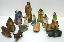 14 Antique Manger Creche Figures Plaster Mary Joseph Jesus Angels Animals + more