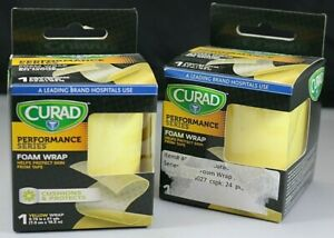 """2 Curad Performace Series Yellow Foam Wrap Protect Skin From Tape 2.75"""" X 21 Yd"""