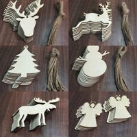 100 Pcs Christmas Wood Chip Tree Ornaments Xmas Hanging Pendant Home Decor Gifts