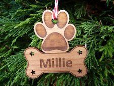 Personalised Dog Christmas Tree Decorations   Name Engraved Wooden Dog Paw Print