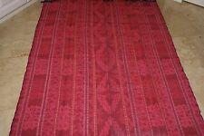 Hand woven textile geometric motifs vintage Ikat Liquidation hot pink thick warm