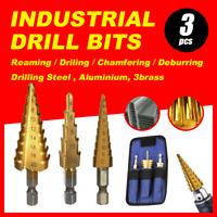 3pcs HSS Steel Step Cone Drill 3-12/4-12/4-20mm Titanium Bit Set Hole Cutter
