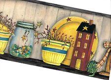COUNTRY SHELF- CANDLES, BASKET, JARS, BOWLS, AND HOUSE WALLPAPER BORDER AAI08031