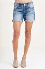True Religion Jeans Shorts Low Rise Emma Cuffed Flap Pocket Jean Denim Short 25