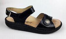 Finn Comfort Sausalito Black Patent Leather Ankle Strap Sandals US 11-11.5 EU 42