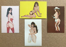 4 Different 1970's Pin-Up Art Postcards Semi-nude
