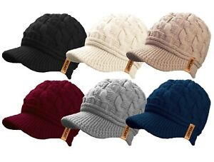 Ladies Womens Peaked Cable Knit Warm Teddy Fleece Lined Beanie Winter Hat Cap