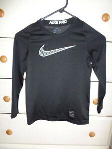 Nike Pro Boys Size Small  Black Long Sleeve Dri-Fit Compression Shirt