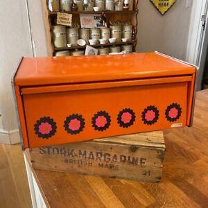 Vintage Brabantia Bright Orange Rectangular Bread Bin with Flowers – Retro!