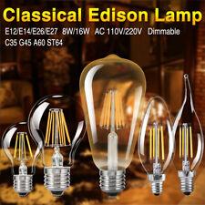 Dimmable 8/16W E27/E14/E26/E12 Edison Filament LED BulbCandle/Globe Light Lamps
