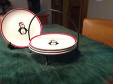 Holiday Plates With Penguin On Caddy