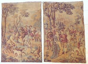 """XL Large Antique French Tapestry Medieval Scenery 68x46"""" RARE PAIR 19TH"""