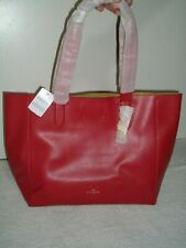 New Coach Pebble Leather Derby Tote Shoulder Bag True Red F58660