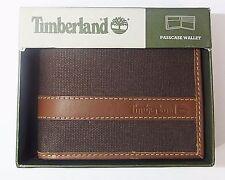 Timberland Men's CANVAS LEATHER TRIM HUNTER PASSCASE Wallet Dark Brown D88218-73