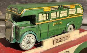 WELLS BRIMTOY PRE WAR GREENLINE TINPLATE CLOCKWORK BUS  / COACH